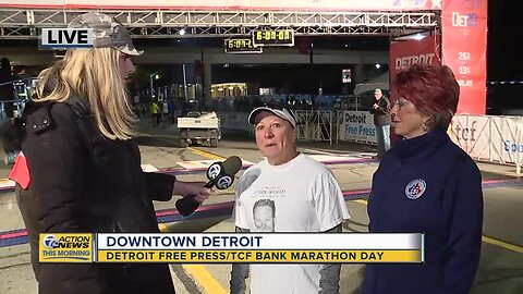 Warming up for the Detroit Free Press/TCF Bank Marathon
