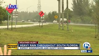 Heavy rain moving through Palm Beach County, Treasure Coast