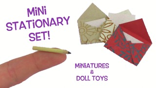 DIY miniature envelopes, note cards, and pencil stationary set for American Girl Dolls