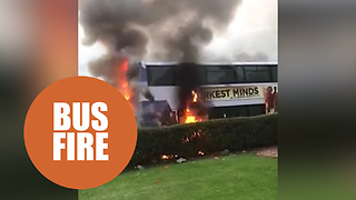 This is the terrifying footage of the moment a double-decker bus burst into flames.