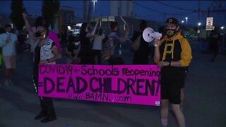 Protests on first day of in-person summer school