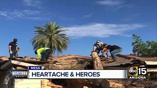Mesa neighborhood picking up the pieces following strong Monsoon storms - Video