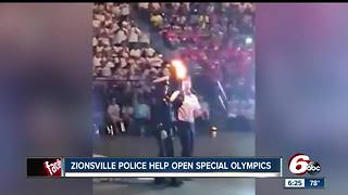 Zionsville police help open Indiana Special Olympics - Video