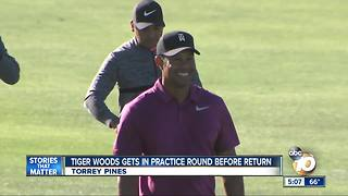 Tiger Woods practices at Torrey Pines