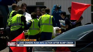 Land owners rush to action after blimp crash - Video