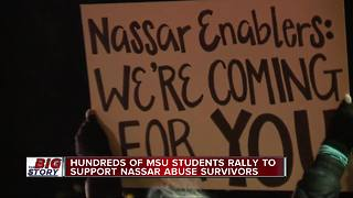 Michigan State University students hold march for Nassar survivors
