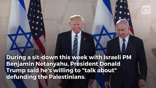 Netanyahu's Face Is Priceless When Trump Talks About Defunding Palestinians - Video