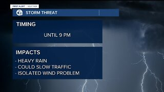 Evening rain and storm chance