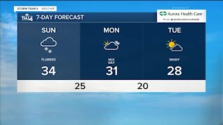Flurries continue through Sunday afternoon