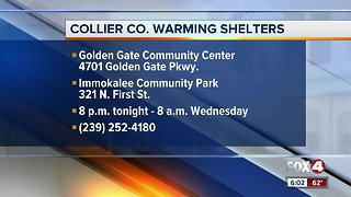 Warming shelters opening in Collier County - Video