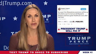 Lara Trump Promises to Save Americans From the Skyrocketing Premiums That Trump Caused - Video