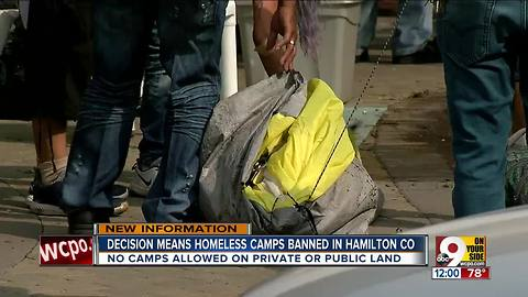 Officials: Homeless camps banned in Hamilton County