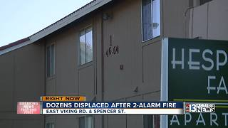 Dozens displaced after apartment fire - Video