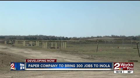 Paper company to bring 300 jobs to Inola