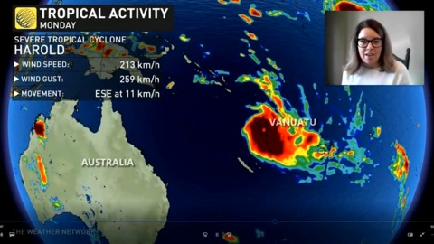 Powerful cyclone Harold makes landfall as a powerful category 4 storm leveling buildings