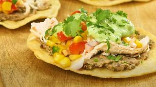 Chicken & Black Bean Tostada with Avocado Cream - Video