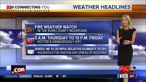 A Fire Weather Watch will impact the mountains later this week
