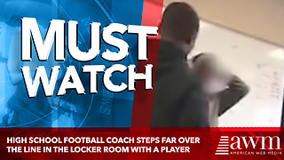High School Football Coach Steps Far Over The Line In The Locker Room With A Player - Video