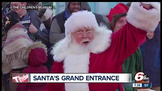 Santa arrives in Indianapolis by IndyCar, helicopter - Video