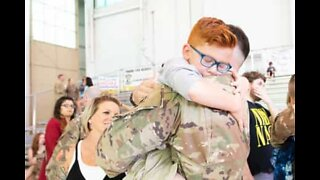 Son reunites with father after 8-month deployment