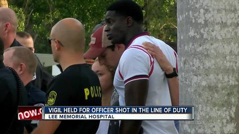 Vigil held for officer shot in the line of duty