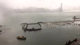 Timelapse of Tropical Storm Pakhar sweeping through Hong Kong harbour - Video