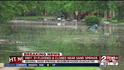 Sand Springs neighborhoods evacuated