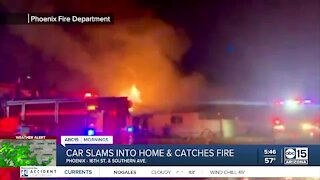 Car crashes into Phoenix home, catching fire