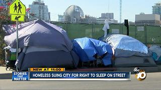 Homeless suing city for right to sleep on street - Video
