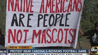 Group protests Washington's NFL mascot before Arizona Cardinals game - Video