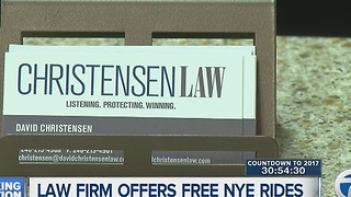 Law firm offering free rides home on New Year's Eve.