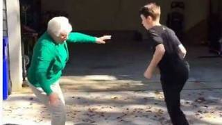 Kid crosses over grandma, breaks her ankles! - Video
