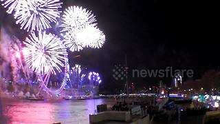 New Year's Eve firework display over River Thames - Video