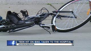 14-year-old injured hurt after car vs. bicycle crash in Ashwaubenon - Video