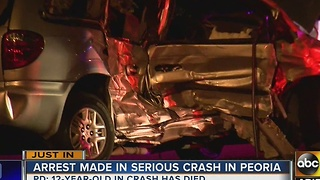 Woman arrested in Peoria crash that left 1 child dead, 4 others hurt - Video