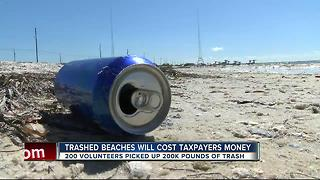 Gandy and Courtney Campbell beaches trashed after Fourth of July celebrations - Video