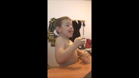 Father pranks son with classic pop-up scare video