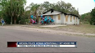 Police: Arcadia woman intentionally sets house on fire, kills 3 kids - Video