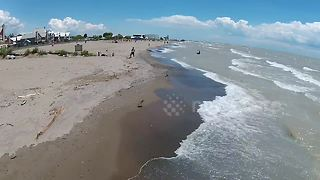 Stunning drone footage of Lake Erie on a windy day - Video