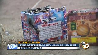Fireworks reported near brush fire - Video