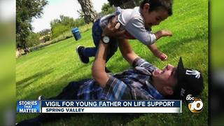 Vigil for young father on life support - Video