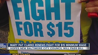 Mary Pat Clarke renews Fight for $15 minimum wage bill - Video