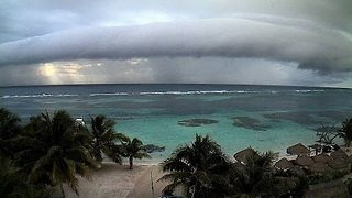 Cloud Rolls into Mahahual from Caribbean Sea - Video
