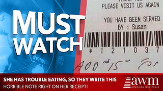 Waitress Writes Horrible Note On Sick Old Woman's Receipt - Video