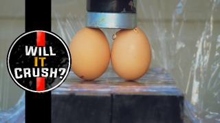 Will eggs crush under a hydraulic press? - Video