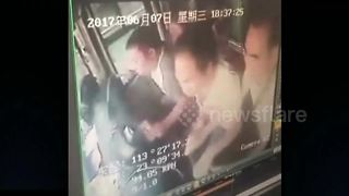 Eight injured after passenger grabs coach steering wheel - Video