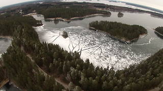 Frozen lake allows skaters to explore stunning winter landscape