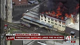 Crews battling large fire in KCMO - Video