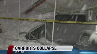 Heavy snow collapses carports