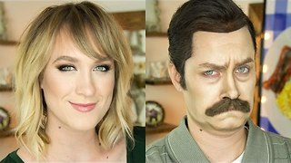 Makeup Artist Transforms Herself into Ron Swanson - Video
